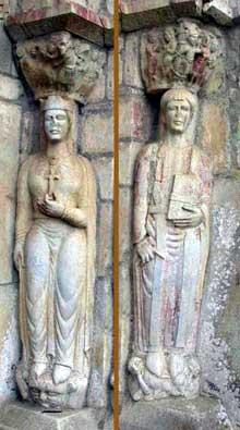 Valcabrère (Haute Garonne): basilique saint Just: portail nord, ébrasement ouest: sainte Hélène (à gauche) et saint Pasteur