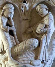 Vézelay (Yonne), basilique sainte Madeleine: chapiteaux du narthex. Saint Benoît ressuscite un enfant