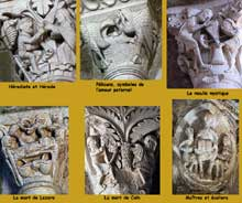Vézelay (Yonne), basilique sainte Madeleine: chapiteaux de la nef