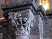 Vézelay (Yonne), basilique sainte Madeleine: chapiteau de la nef. Le moulin mystique