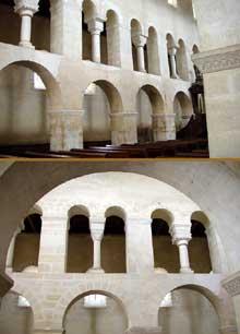 Vignory (Haute Marne): l'église saint Etienne. La nef: élévation et claire voie