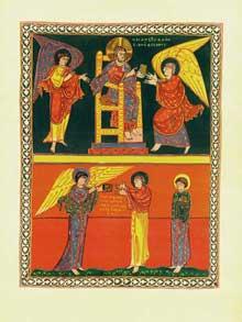 L'apocalypse de Saint Sever. Paris, Bibliothèque Nationale. Folio 26v: les révélations de saint Jean