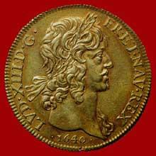 Jean Varin: Pièce de vingt louis à l'effigie de LouisXIII. Paris, 1640