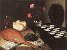 Lubin Baugin: nature morte à l'échiquier. 1630. Huile sur bois, 55 x 73cm. Paris, musée du Louvre
