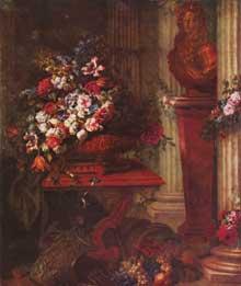 Jean Baptiste Belin dit Blain de Fontenay le Père: Vase avec fleurs et buste de bronze de Louis XIV. Huile sur toile, 190 × 164cm. Paris, Musée du Louvre