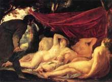 Jacques Blanchard: Vénus et le Grâces surprises par un mortel. 1631-1633. Huile sur toile, 170 x 218cm. Paris, Musée du Louvre