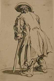 Jacques Callot: les Gueux: Le vieux mendiant à une seule béquille. Eau forte