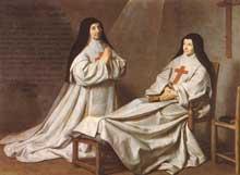 Philippe de Champaigne: Ex-voto représentant la fille de l'artiste avec la mère Angélique Arnaud. 1662. Huile sur toile, 165 x 229cm. Paris, Musée du Louvre.