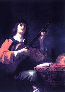 Jean Daret: Portrait de l'artiste en guitariste. Huile sur toile, 130x102cm. Aix-en Provence, Musée Granet