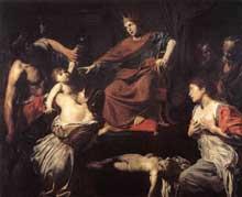 Jean de Boulogne, dit Le Valentin: le Jugement de Salomon. Vers 1625. Huile sur toile, 176 x 210cm. Paris, musée du Louvr