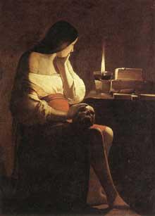 Georges de La Tour: La madeleine à la chandelle. 1630-1635. Huile sur toile, 128 x 94cm. Paris, Musée du Louvre