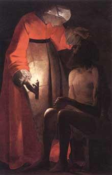 Georges de La Tour: Job moqué par sa femme. 1630. Huile sur toile, 145 x 97cm. Epinal, Musée Départemental des Vosges