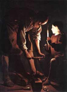 Georges de La Tour: le Christ dans la menuiserie de sion père. 1645. Huile sur toile, 137 x 101cm. Paris, Musée du Louvre