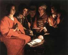 Georges de La Tour: l'Adoration des bergers. Vers 1644. Huile sur toile, 107 x 131cm. Paris, Musée du Louvre