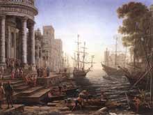 Claude Gellée «Le Lorrain»: Scène portuaire avec la villa MédiciS. 1637 Huile sur toile, 102 x 133cm. Florence, les Offices