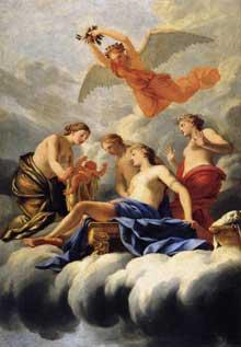 Eustache Le Sueur: la naissance de Cupidon. 1645-47 Huile sur bois, 182 x 125cm. Paris, Musée du Louvre.