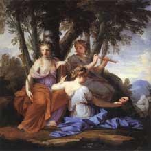 Eustache Le Sueur: les muses Clio, Euterpe et Thalie. 1652-1655. Huile sur bois, 130 x 130cm. Musée du Louvre, Pari