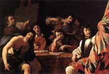 Eustache Le Sueur: réunion entre amis-1642. Huile sur toile, 127 x 195cm. Paris, Musée du Louvre