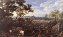 Adam Frans Van der Meulen: l'armée de Louis XIV devant Tournai en 1667. 1684. Huile sur toile, 207 x 344,5cm. Bruxelles, Musées Royaux des Beaux Arts