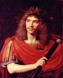 Nicolas Mignard: Portrait de Molière dans le rôle de César (La Mort de Pompée de Pierre Corneille).1658. Huile sur toile, 79 x 62cm. Paris, Comédie Française