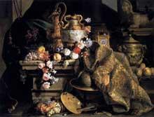 Monnoyer Jean Baptiste: nature morte aux fleurs et aux fruits. 1665. Huile sur toile, 146 x 190cm. Montpellier, Musée Fabre