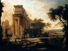 Pierre Antoine Patel: paysage classique. 1697. Huile sur toile, 65 x 95cm. Collection privée