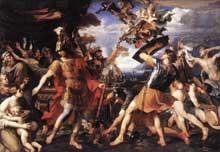 François Perrier: Enée et ses compagnons combattant les Harpies. 1646-1647. Huile sur toile, 155 x 218cm. Paris, Musée du Louvre