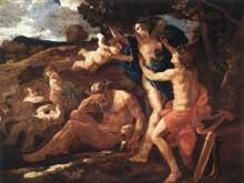 Nicolas Poussin: Apollon et Daphné. 1625. Huile sur toile, 97 x 131cm. Munich, Alte Pinakothek.
