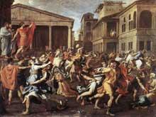 Nicolas Poussin: l'Enlèvement ses Sabines 1634-1635. Huile sur toile, 154,6 x 209,9cm. New York, Metropolitan Museum of Art