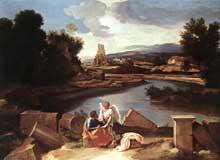 Nicolas Poussin: Paysage avec saint Mathieu et l'Ange c. 1645. Huile sur toile, 99 x 135cm. Berlin, Staatliche Museen