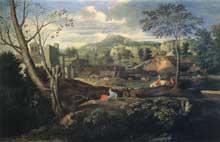 Nicolas Poussin: Paysages idéaux 1645-1650. Huile sur toile, 120 x 187cm. Madrid, Museo del Prado