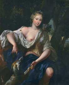 Antoine Rivalz: Portrait de la Présidente de Riquet en Diane chasseresse, vers 1702, huile sur toile, 123 x 101 cm, Toulouse, Musée des Augustins