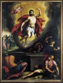 Richard Tassel: la Résurrection du Christ. Huile sur toile, 200 x 150cm. Beaune, Collégiale Notre-Dame