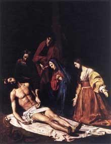 Nicolas Tournier: mise au tombeau. Huile sur toile, 305 x 154cm. Toulouse, musée des Augustins