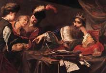 Claude Vignon: Crésus recevant le tribut des Lydiens. 1629. Huile sur toile, 105 x 149cm. Tours, Musée des Beaux-Arts