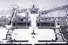 Ange Jacques Gabriel (1698-1782): projet pour la place Louis XV ou Place de la Concorde de Paris. 1758