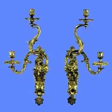 Gilles Marie Oppenordt: bras à deux lumières. 1715-1720. Attribué aussi à André Charles Boulle