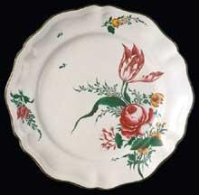 Assiette Joseph Hannong en faïence de Strasbourg. XVIIIè