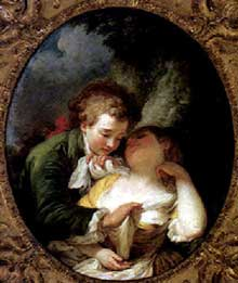 Pierre Antoine Baudoin (1723-1769): Amoureux dans un paysage. 1775