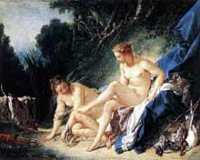 François Boucher (1703-1770): Diane après le bain. 1742. Huile sur toile, 56x73cm. Paris, Musée du Louvre