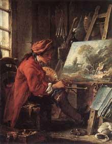 François Boucher (1703-1770): L'atelier du peintre. Huile sur bois, 27 x 22 cm. Paris, Musée du Louvre