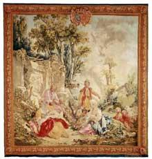 François Boucher (1703-1770): Tapisserie de Beauvais, 3,48 x 3,40 m: Le déjeuner (d'après la série La Noble Pastorale), 1756