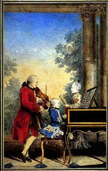 Louis Carrogis dit Carmontelle (1717-1806): Léopold Mozart avec Wolfgang Amadeus et Maria Anna