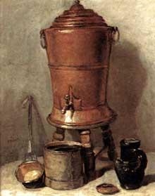 Jean Baptiste Siméon Chardin (1699-1779): fontaine à boire en cuivre. Huile sur bois, 1734: 28,5 x 23 cm, Paris, Musée du Louvr