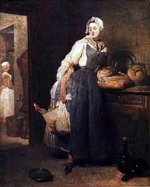 Jean Baptiste Siméon Chardin (1699-1779): retour de marché 1739. Huile sur toile, 47 x 38 cm. Paris, Musée du Louvre