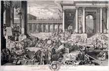 Charles-Nicolas Cochin le Père (1688-1754): l'Académie des Sciences et des beaux-arts par Sébastien Leclerc. Gravure