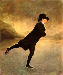 Henri Pierre Danloux (1753-1809) : le patineur. Ce tableau fut longtemps attribué à Raeburn. Huile sur toile. 76,2 x 63,5 cm. Edimbourg, National Gallery