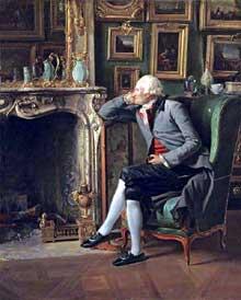 Henri Pierre Danloux (1753-1809) : portrait du Baron de Besenval dans son salon de compagnie, 1797 Londres National Gallery