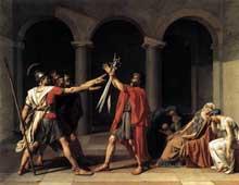 Jacques Louis David (1748-1825): Le serment des Horaces. 1784. Huile sur toile, 330 x 425 cm. Paris, Musée du Louvre.