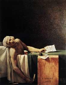 Jacques Louis David (1748-1825): La mort de Marat. 1793. Huile sur toile, 162 x 128 cm. Bruxelles, Musées Royaux des Beaux-Arts